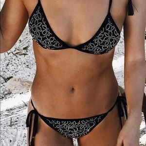Forever 21 black studded bikini set with tassels